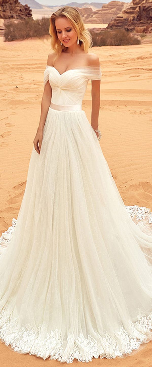 Fantastic tulle offtheshoulder neckline aline wedding dress with