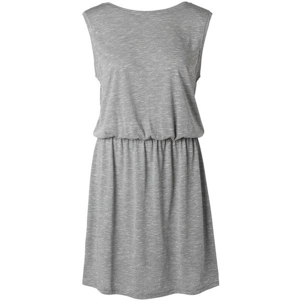Selected Draped - Dress (62 CAD) ❤ liked on Polyvore featuring dresses, dark grey melange, round neck dress, low back dress, dark grey dress, low cut back dress and formal wear dresses