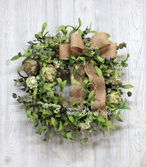 Farmhouse Wreath With Artichokes Greenery Wreath Wreath For All