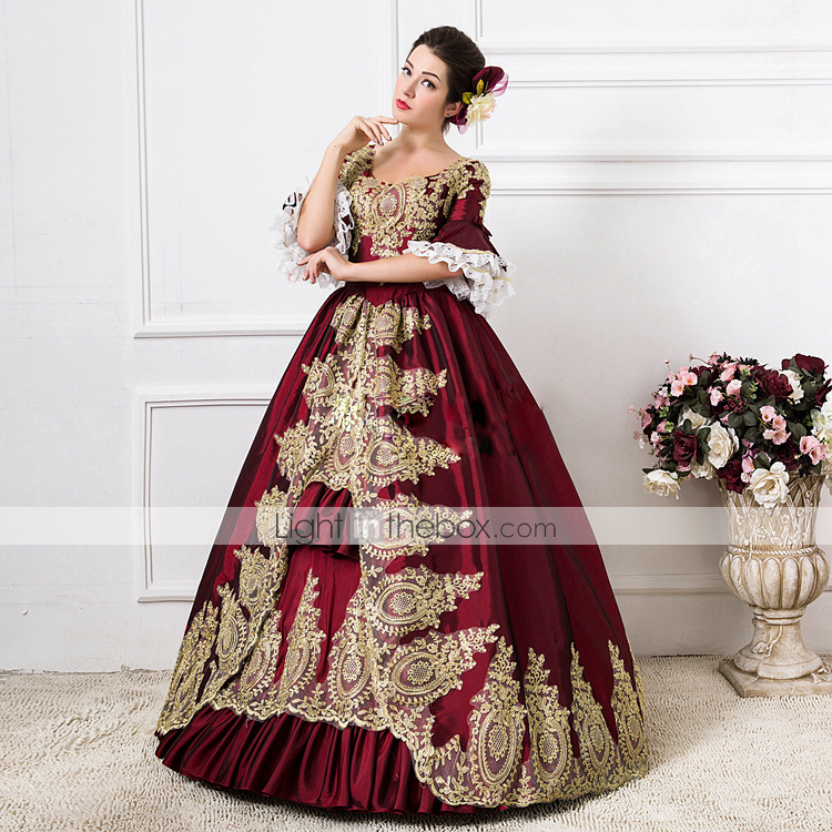 Rococo Victorian 18th Century Dress Party Costume Masquerade Ball Gown Women's Lace Cotton Costume Green / Royal Blue / Red Vintage Cosplay Party Prom Floor Length Long Length Ball Gown Plus Size 5344698 2019 – $109.99 #masqueradeballgowns