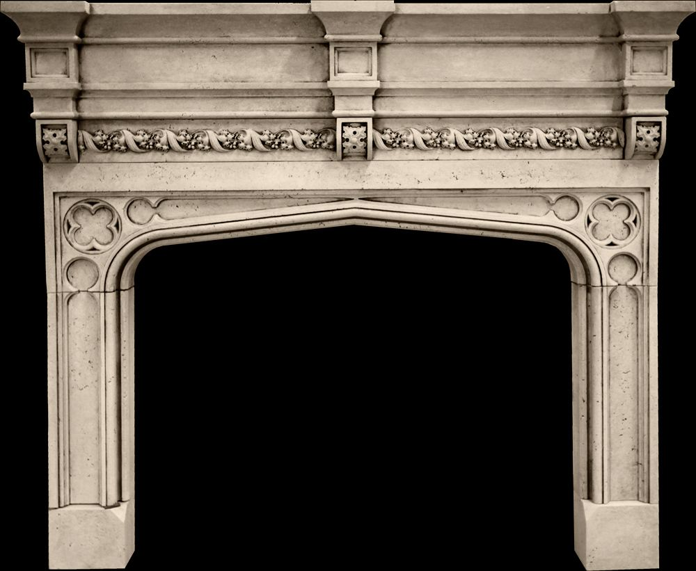 Tudor a mantel from tartaruga design inc cast stone for Tudor style fireplace