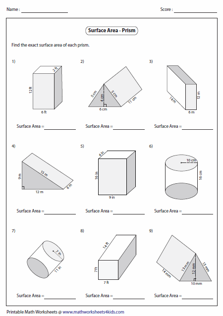 Level 1 Prism Worksheets Contain Bases In Squares Rectangles Triangles Area Worksheets Surface Area Worksheets