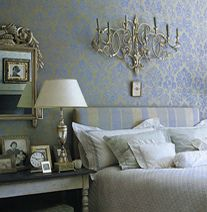 Luxe Damask Wallpaper In Bedroom, From Elle Decor