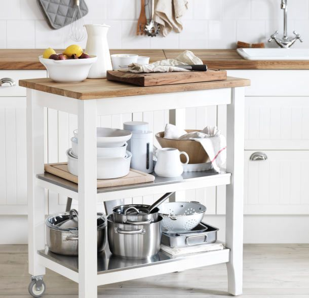 The sleek STENSTORP kitchen cart gives you extra storage, utility ...