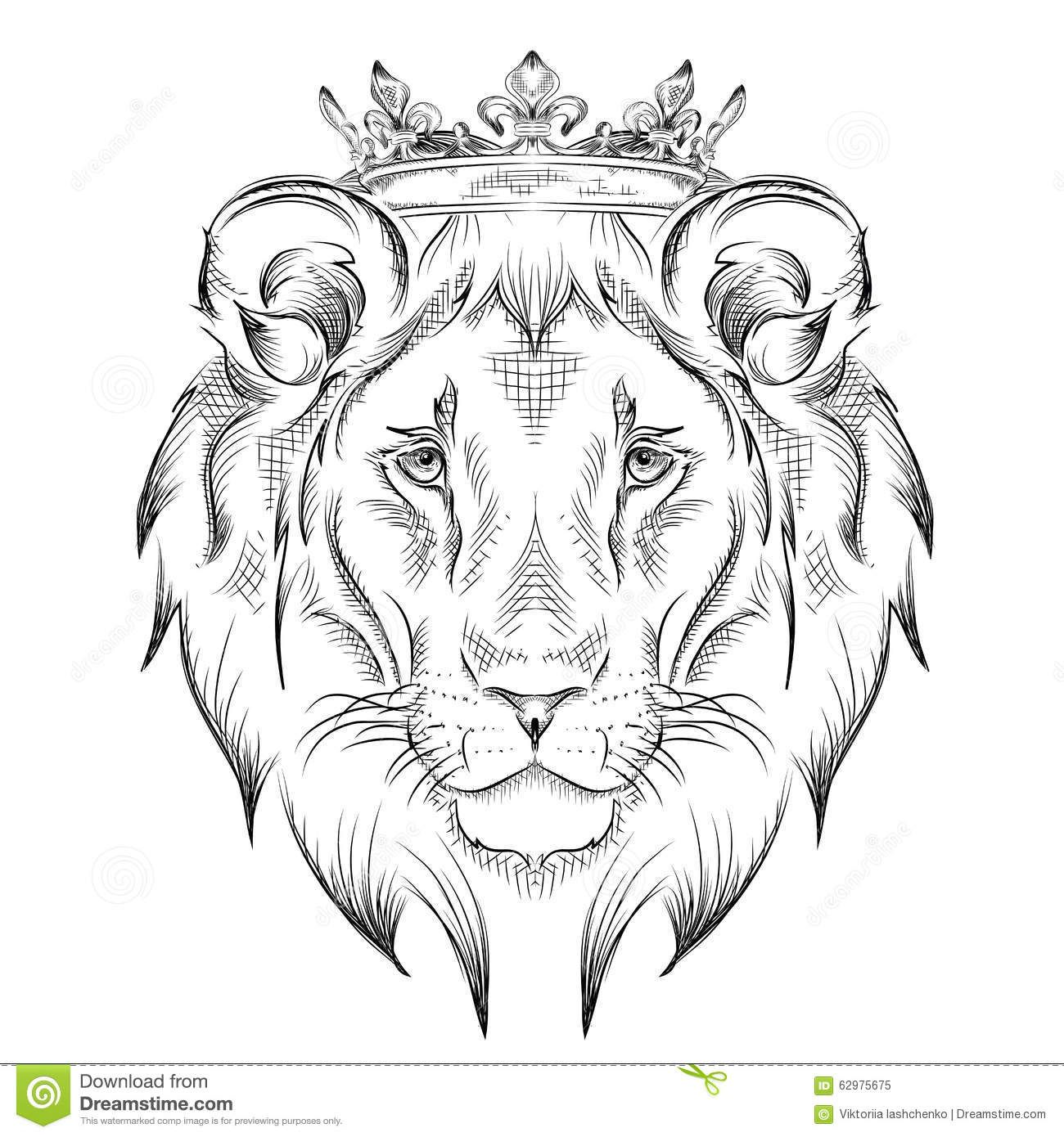 cabeza-de-dibujo-étnica-de-la-mano-del-león-que-lleva-una-corona ...