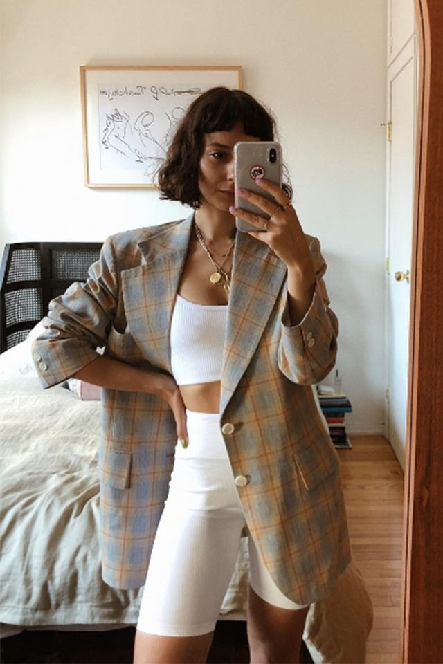 bike short outfits for summer - oversized plaid blazer