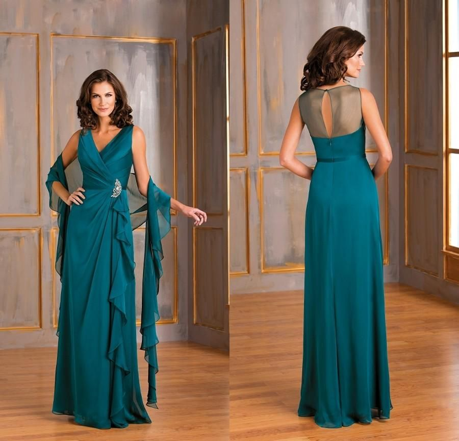 2015 Formal Teal Green Chiffon Plus Size Mother Of The