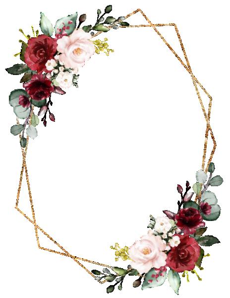 Romantic Watercolor Burgundy Floral Geometric Invitation