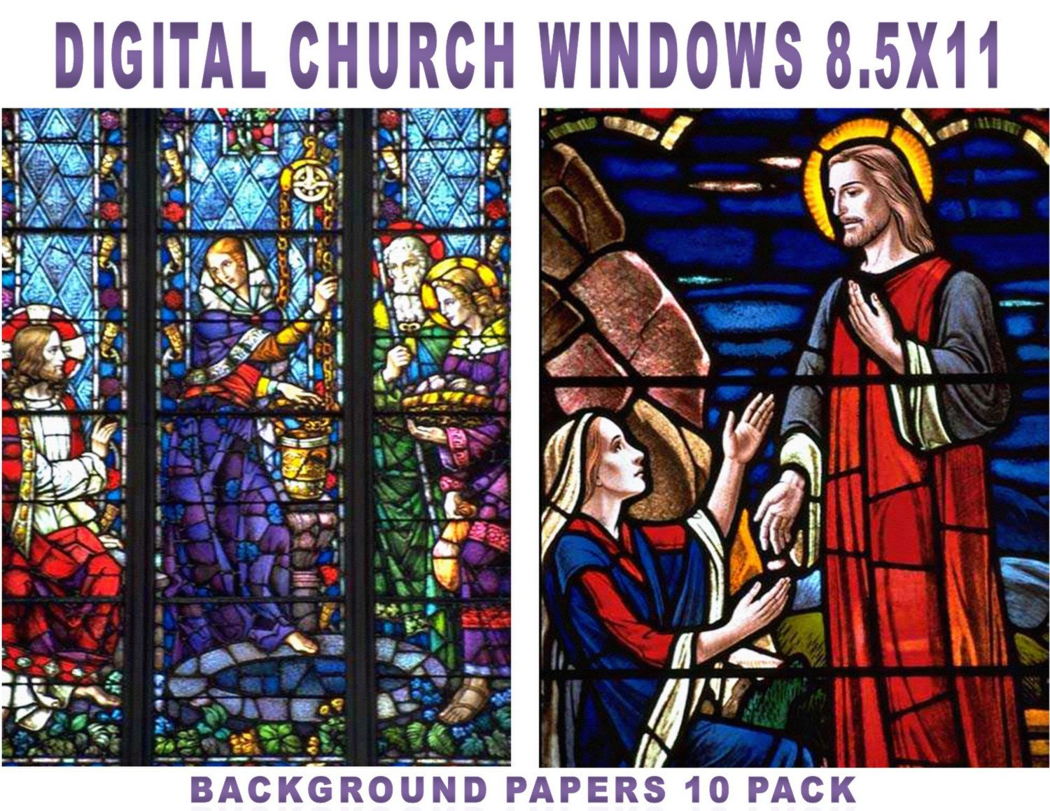 JESUS Inspired Digital Paper Pack Church Window Papers Paperpack X 11 Inch Printable Stained Glass WindowsDigital By ArtMyWaybyKEBlevins