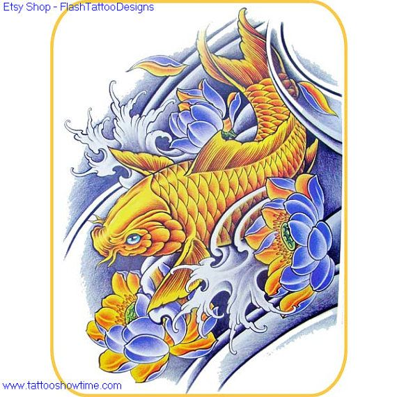 Koi Tattoo Flash Design 5 For You On Etsy. Top Quality