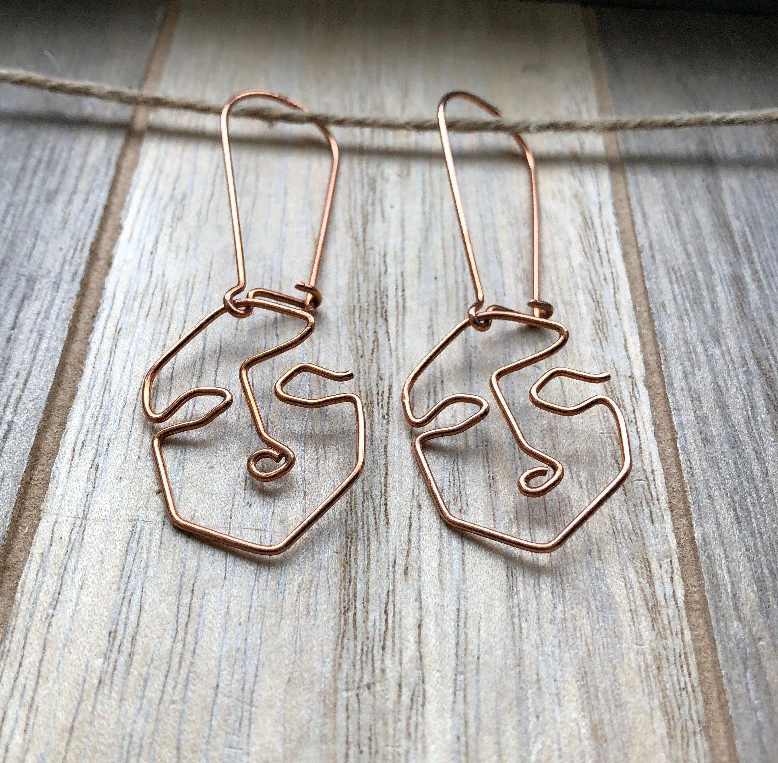 Abstract face earrings wire earrings copper earrings dangle | Etsy