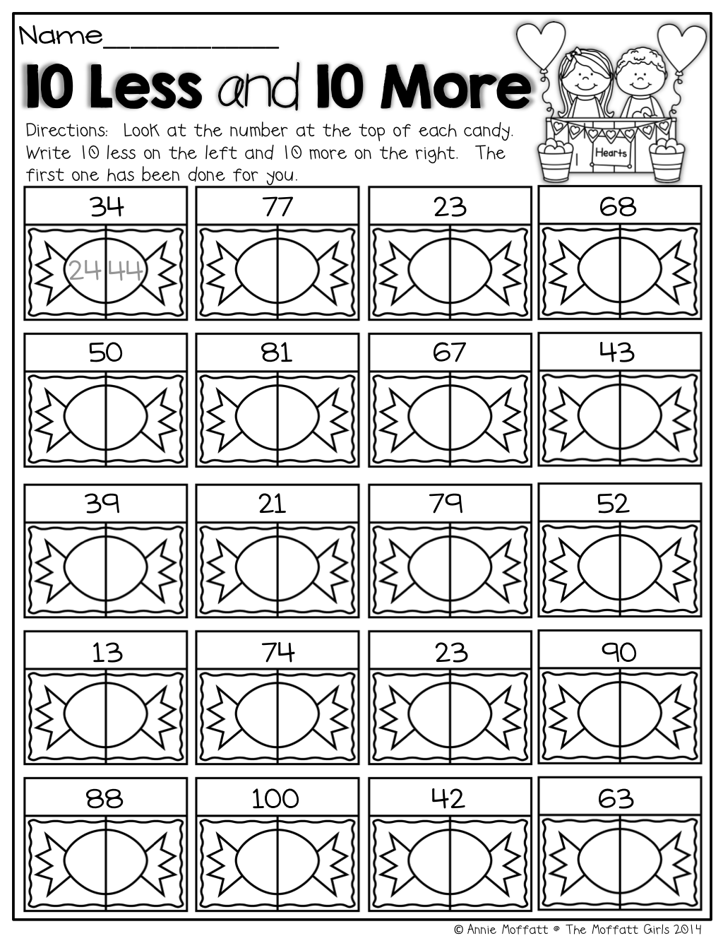 More Less Dice Worksheet