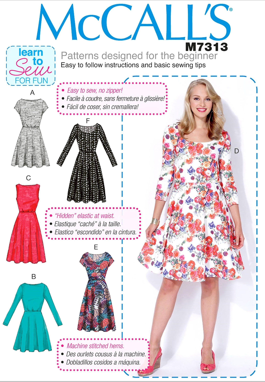 Sewing Pattern Learn to Sew Pullover Knit Dress Pattern, Women\'s ...
