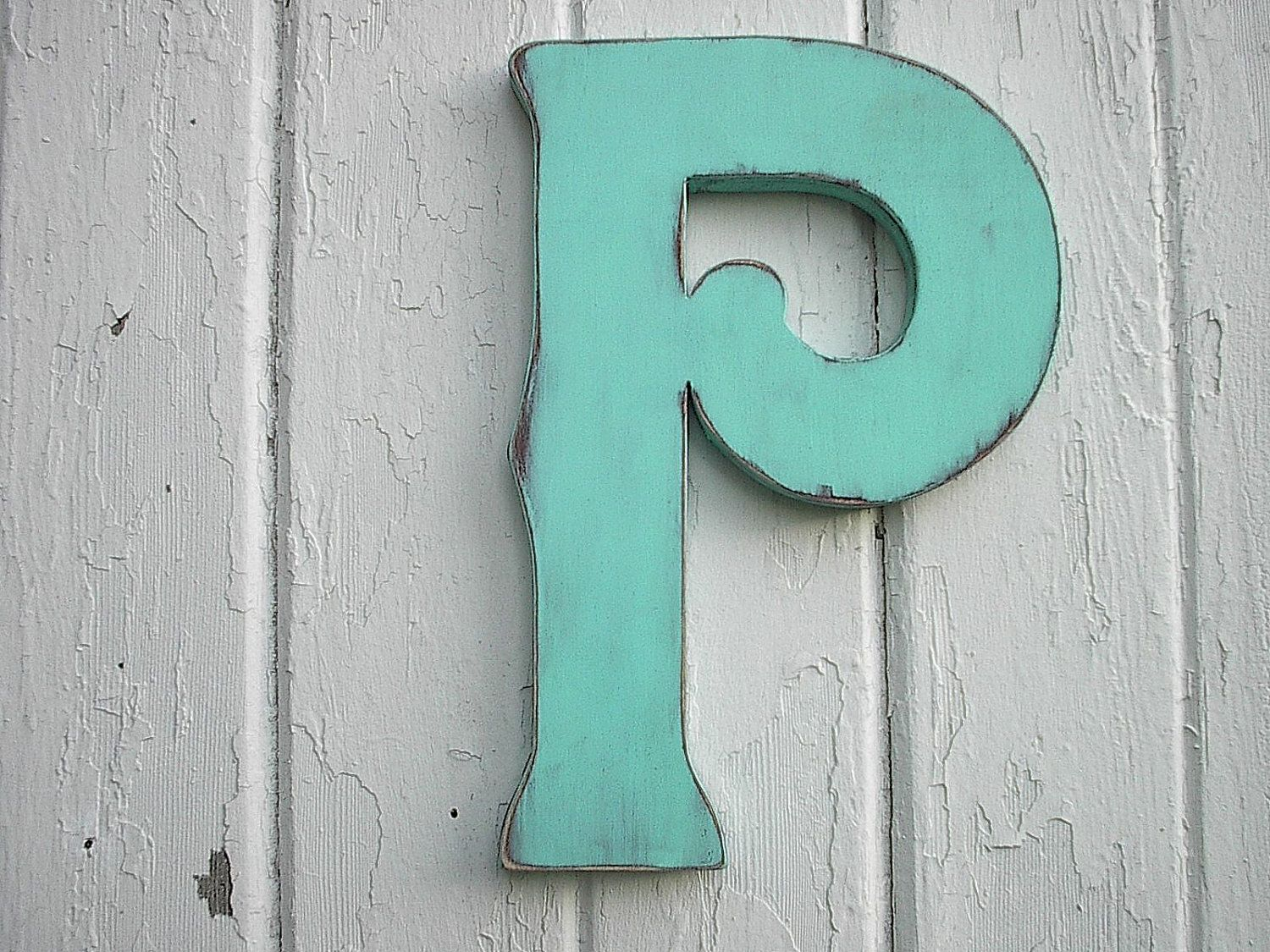 Letter P Wall Decor Wooden Monogram Letter P Kids Wall Art Nursery 12 Inch Patina