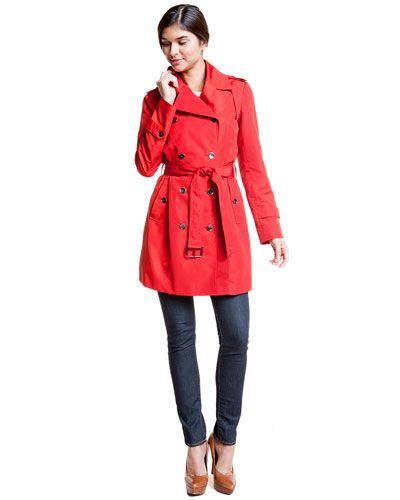 Cole Haan Red Double-Breasted Trench