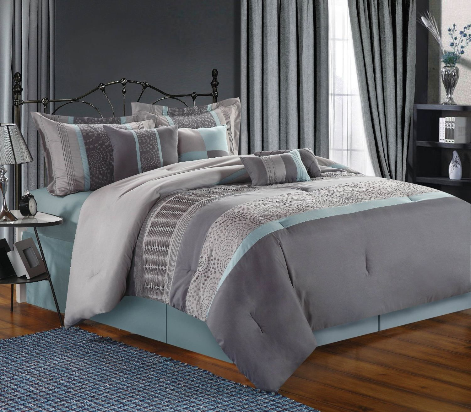 Image Result For Blue Gray Wall Light Blue Curtains Silver Gray Comforter Grey Colour Scheme Bedroom Blue Bedroom Grey Bedroom Colors