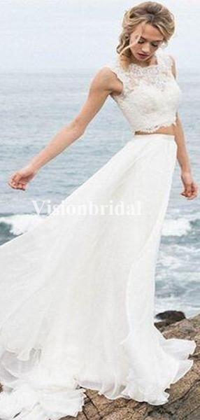 Strand Zwei Stücke Lace Top Covered Button Brautkleider, VB03361