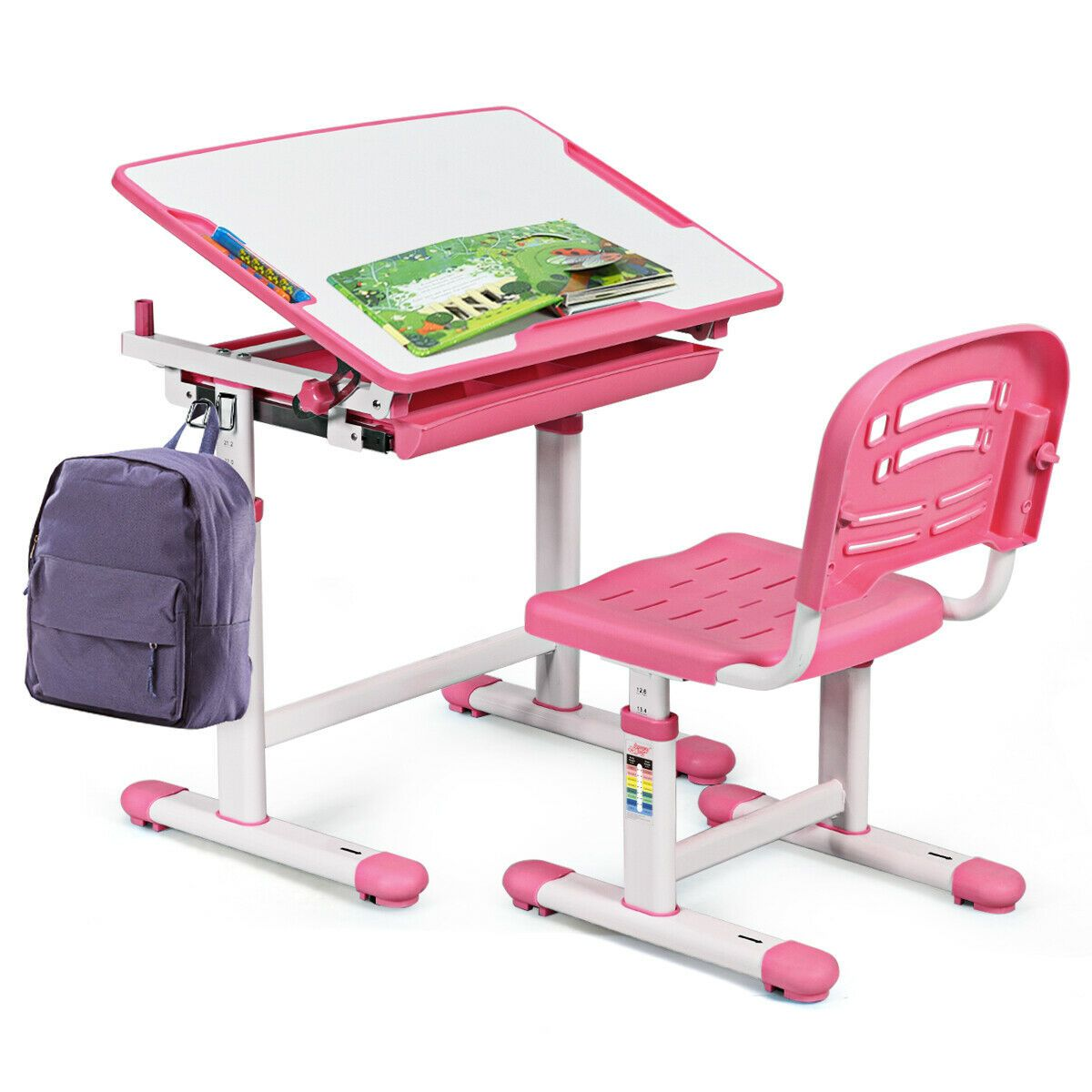 Gymax Height Adjustable Children S Desk Chair Set Multifunctional Study Drawing Pink Walmart Com In 2020 Childrens Desk And Chair Desk And Chair Set Kids Study Table
