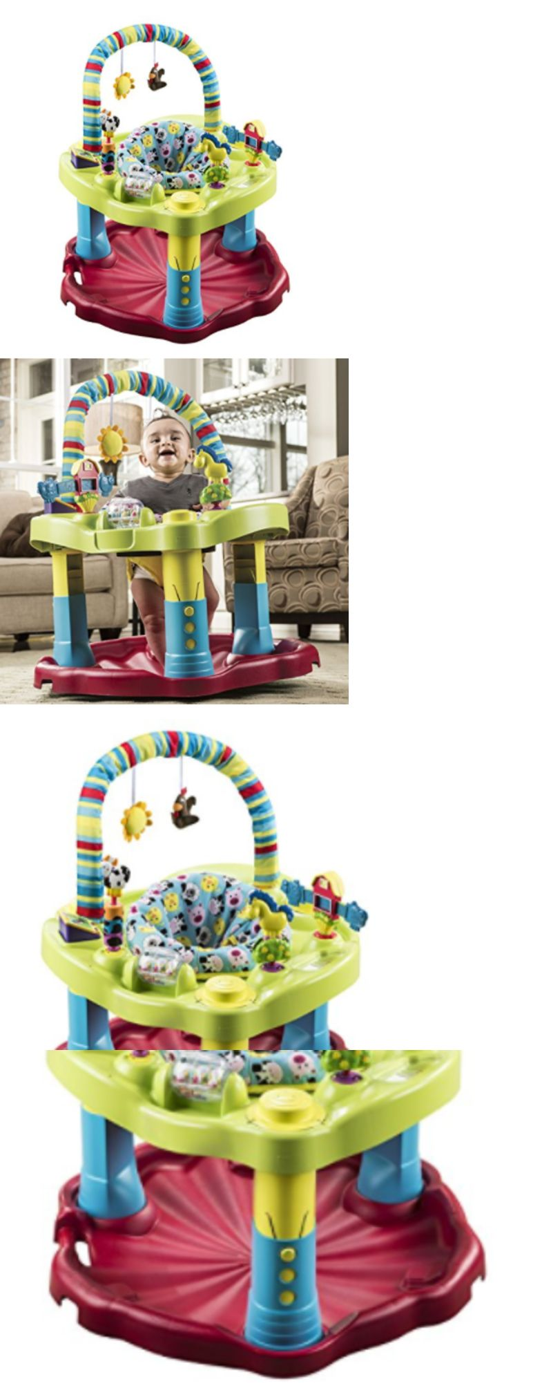 dc7c0b13f Evenflo Baby Excer Saucer Bouncing Barnyard Saucer w Fun Learning ...