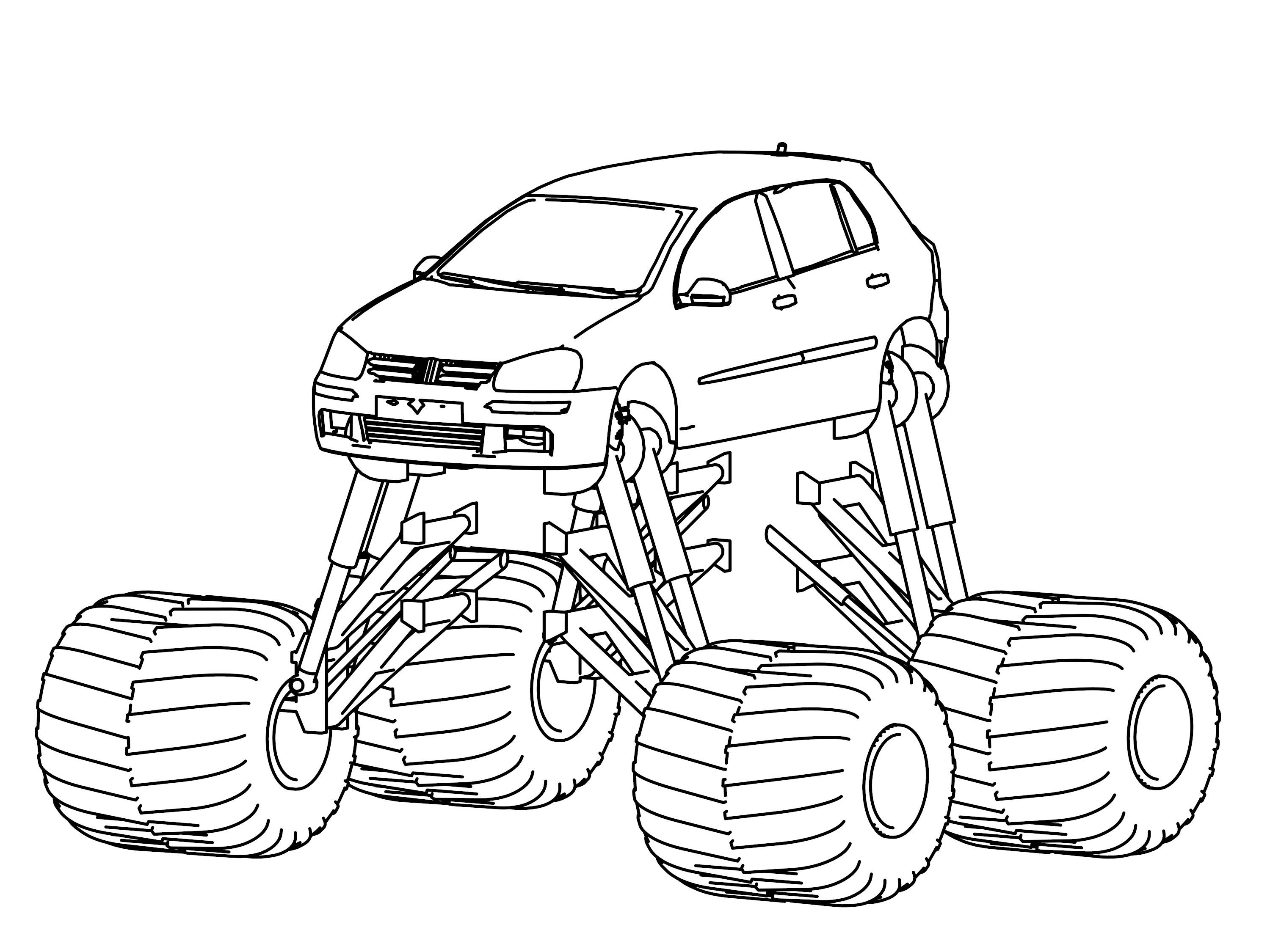 monster truck wheels coloring page