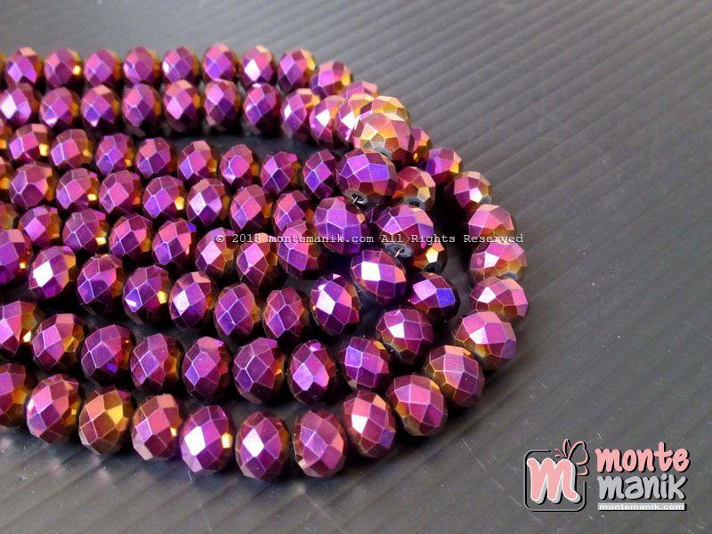 Manik Kristal Ceko Donat 8 Mm Warna Ungu Metalik Kristal 058