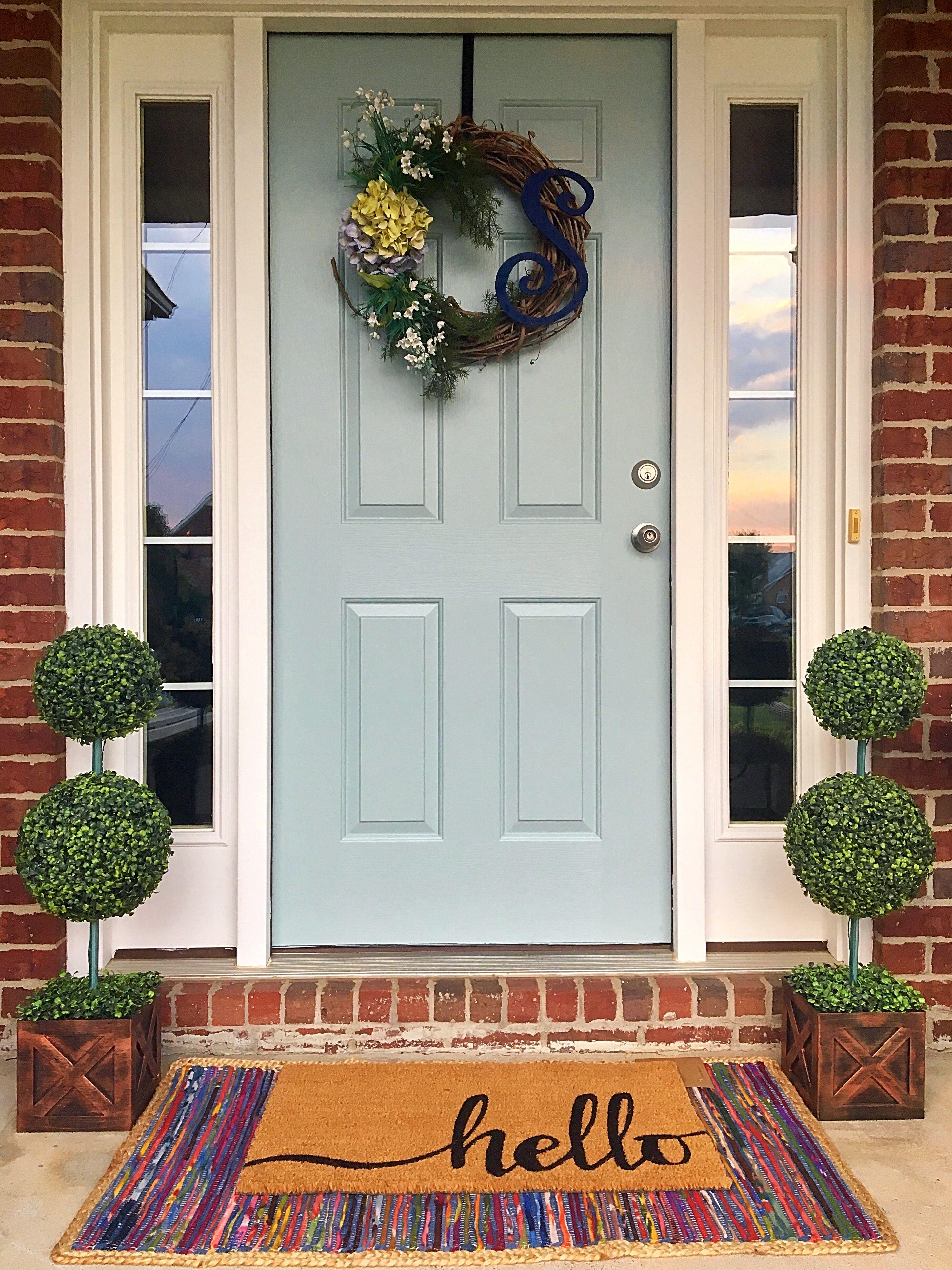 Blue Front Door Hello Mat With Rug Front Door Color Wedgewood Gray By Benjamin Moore Best Front Door Colors Best Front Doors Front Door Paint Colors