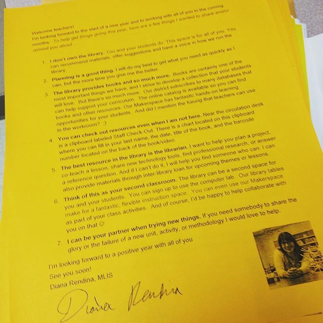 Just got my welcome back letter into teachers' mailboxes - inspired by Kelly Hincks.