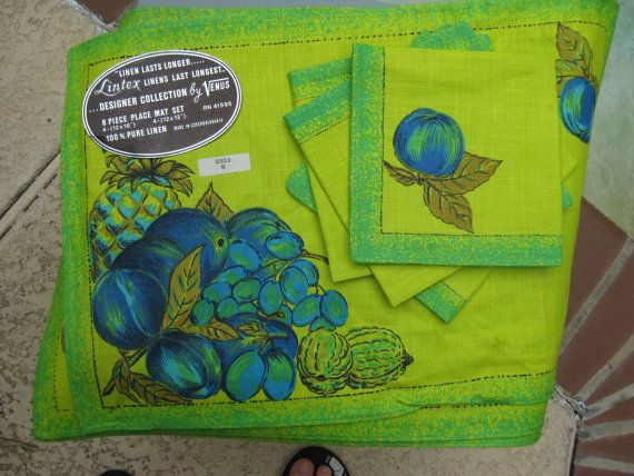 COLORFUL Green and Blue LINEN Placemats and by PatsyTexasRose