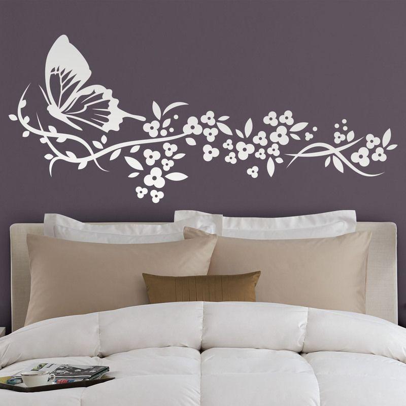 Vinilos Decorativos Para Paredes De Habitaciones.Mariposa Y Floral Vinilos Decorativos Decoracion