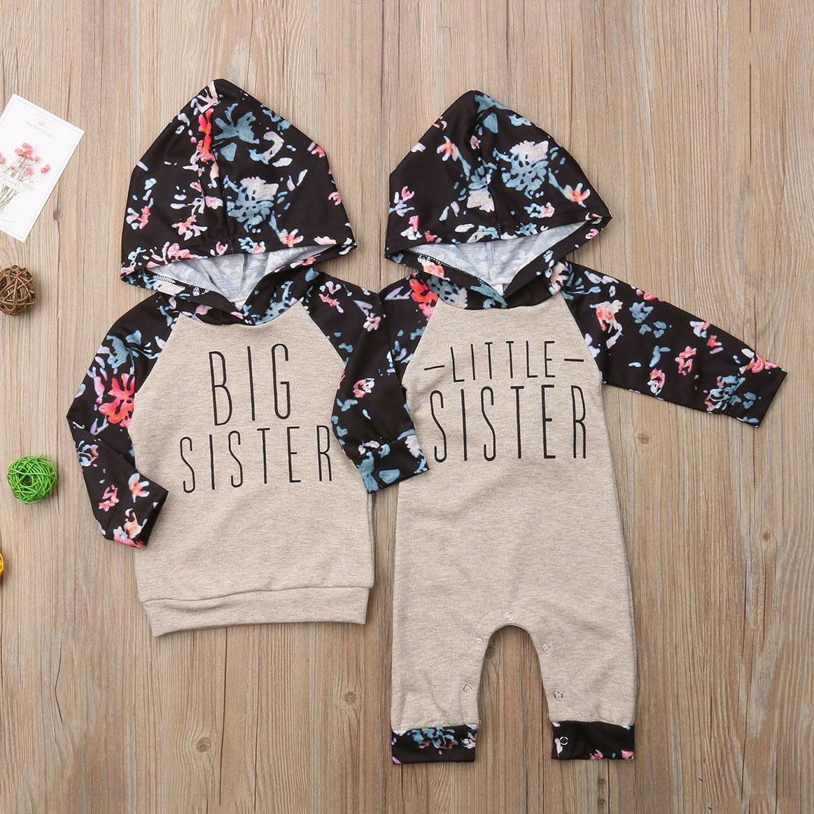 Calsunbaby Baby Girl Sister Matching Floral Clothes Hooded Tops Kids Romper Outfit Set Walmart Com Big Sister Outfits Sister Outfits Twin Baby Clothes