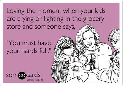 Loving The Moment When Your Kids Are Crying Or Fighting In The Grocery Store And Someone Says You Must Have Your Hands Full Humor Ecards Funny E Cards