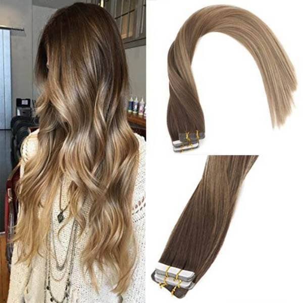 Tape In Balayage Brown Ombre Gold Brown Highlights Blonde Human Hair