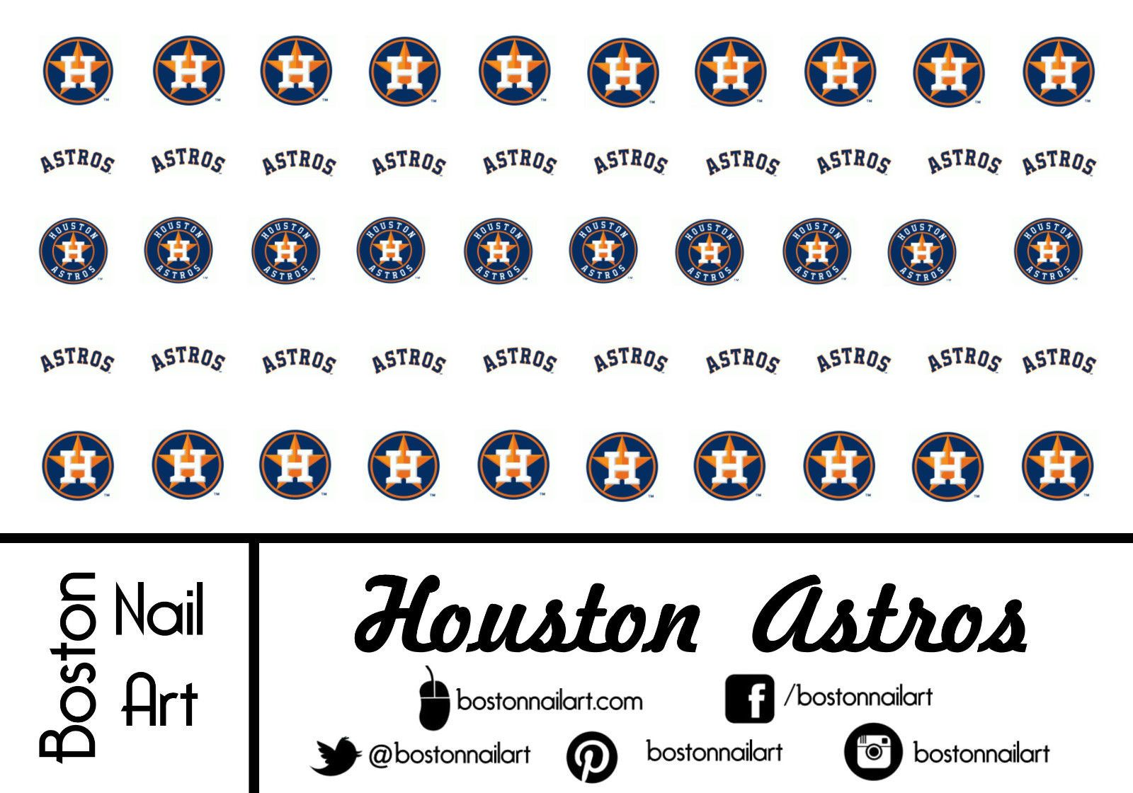Mlb Houston Astros Waterslide Nail Decals 50pc Bna Mlb011 Nail Decals Astros Houston Astros