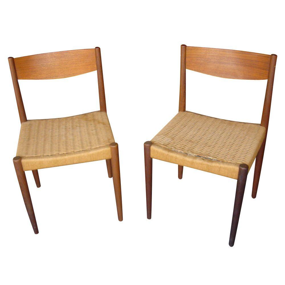 Vintage Danish Fritz Hansen Teak Woven Rush Chairs