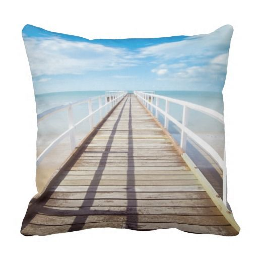 Tropical Beach Pier Throw Pillow