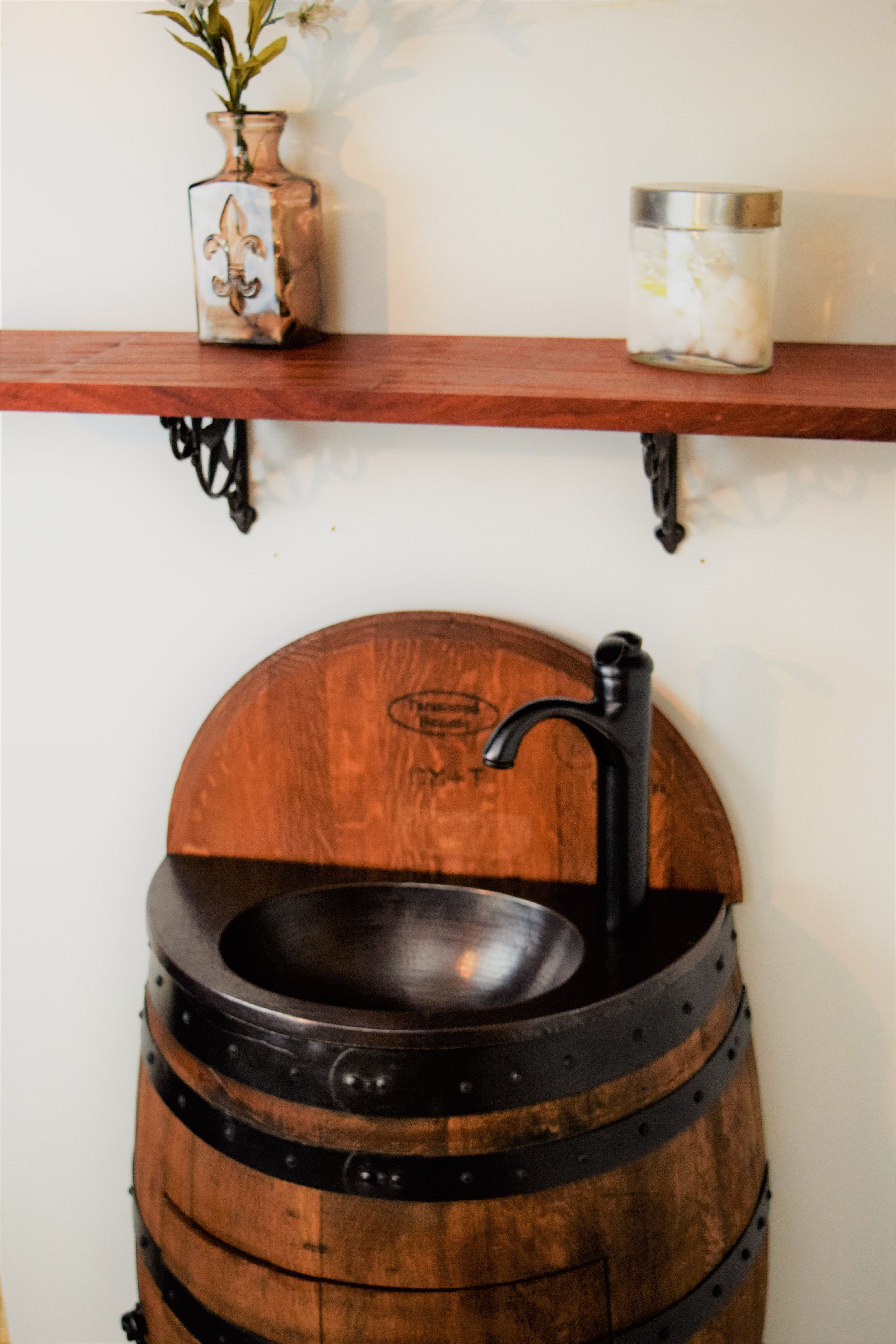 French Oak Half Wine Barrel Bathroom Vanity Table With Integrated Sink And Solid Copper Counter