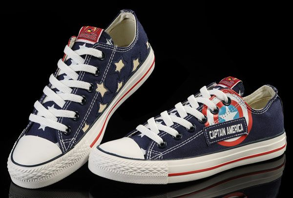 d95077a26f5e Limited Edition Blue Captain America Converse Low Tops Canvas Shoes ...