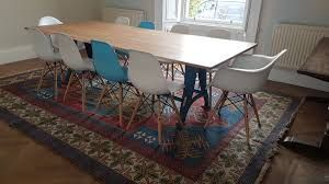 industrial based dining tables from recycled steel and iron with vintage table reclaimed base solid oak top long wide
