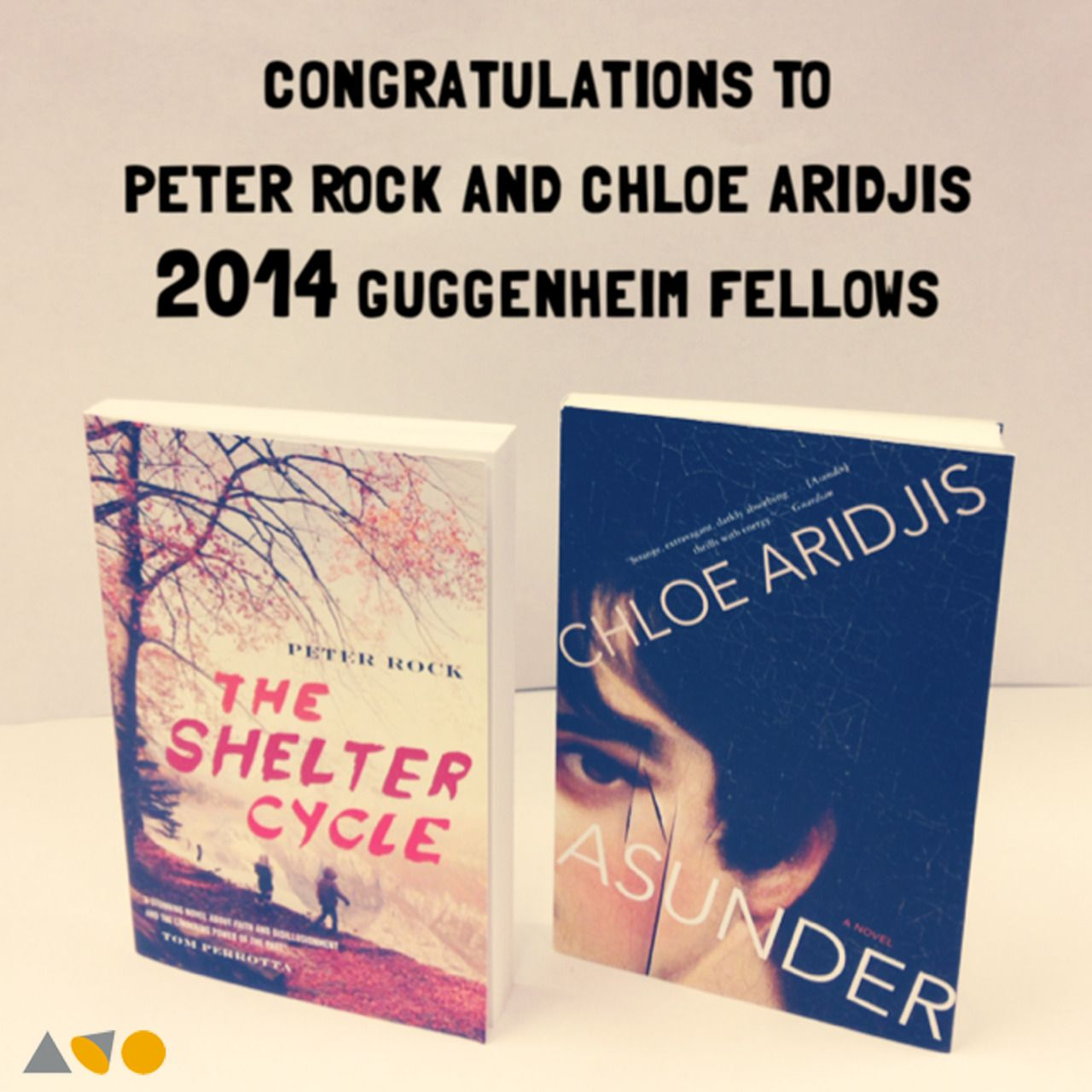 A big congratulations to Guggenheim Fellows Peter Rock (THE SHELTER CYCLE) and Chloe Aridjis (ASUNDER)!