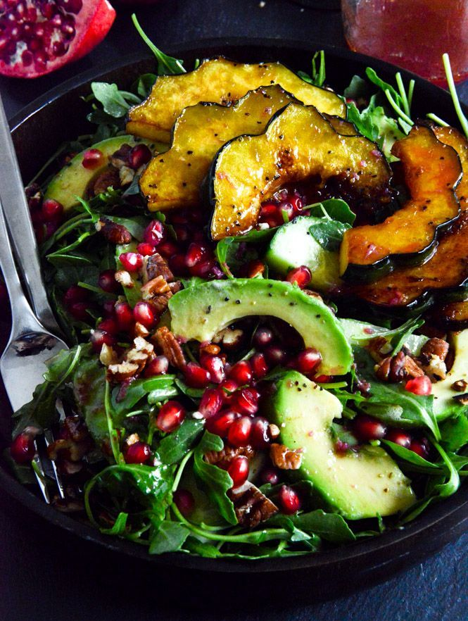 Autumn Arugula Salad with Caramelized Squash, Spiced Pecans and Pomegranate Ginger Vinaigrette