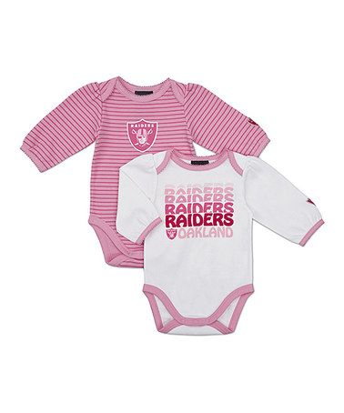 Take a look at this Pink Oakland Raiders Long-Sleeve Bodysuit Set - Infant  by NFL on  zulily today! d70f2141b