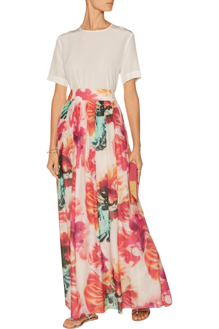 Alice + OliviaGemna floral-print cotton and silk-blend maxi skirtback