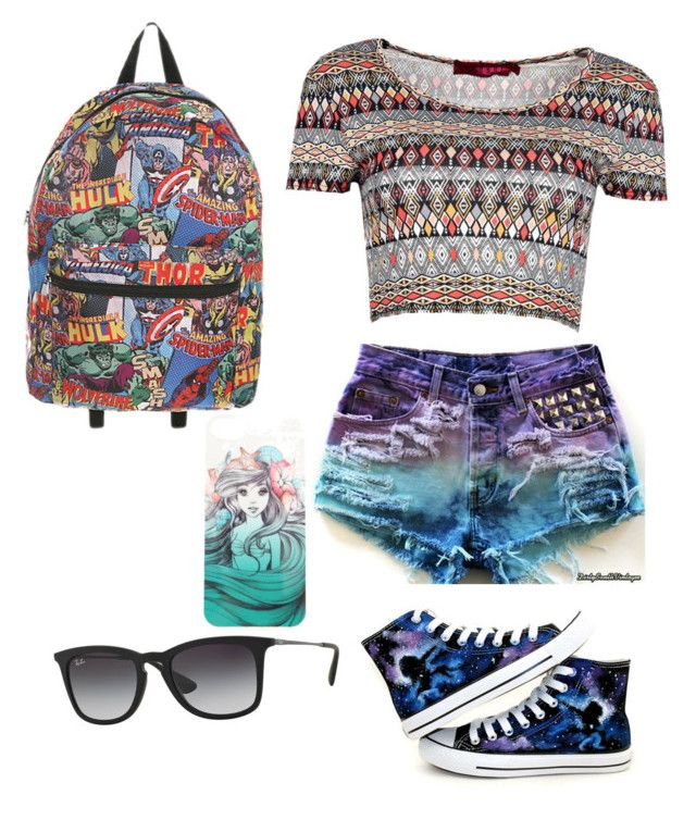 """GALAXY"" by gurveenpanesar ❤ liked on Polyvore featuring Converse, Ray-Ban, Disney and Boohoo"