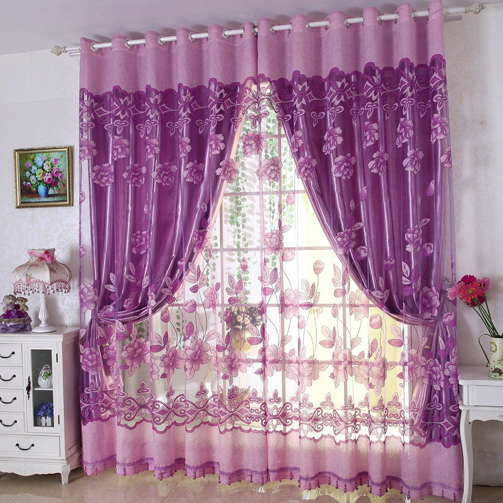 Retro Gardine Lila Jacquard im Schlafzimmer (mit Bildern