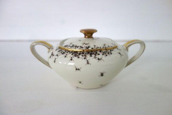 Sugar Bowl - handpainted ants, Evelyn Bracklow