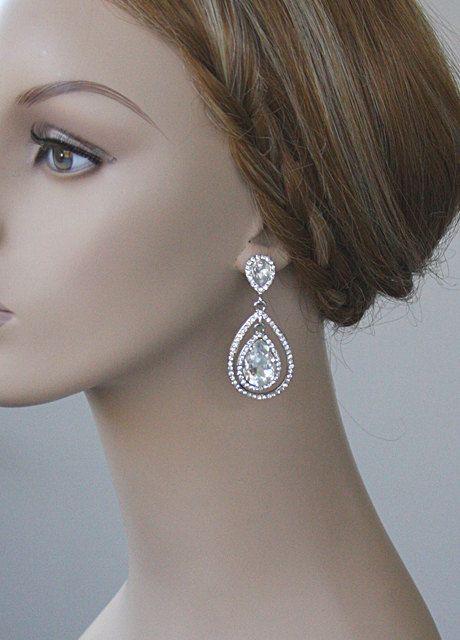 Statement Luxury Vintage Inspired Wedding Jewelry Large Crystal Teardrop Earrings Perfect Bridal