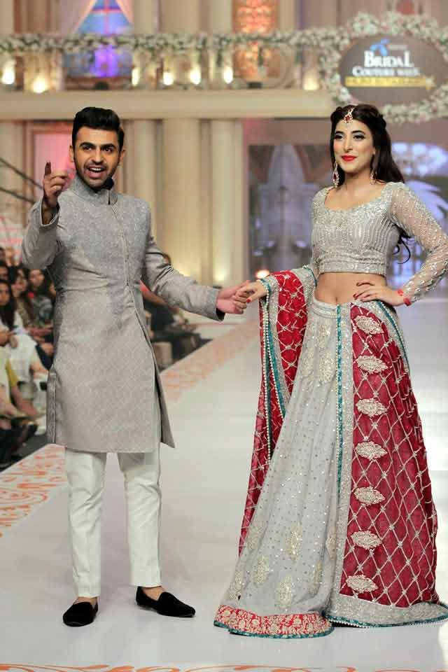 d4eb945b0b bridal in most trendy grey lehnga choli with red dupatta and groom in  matching grey short sherwani with white pajama or trouser latest indian and  pakistani ...