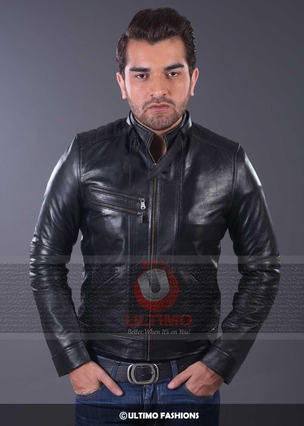 Men Black Stylish Leather JacketJacket FeaturesOutfit