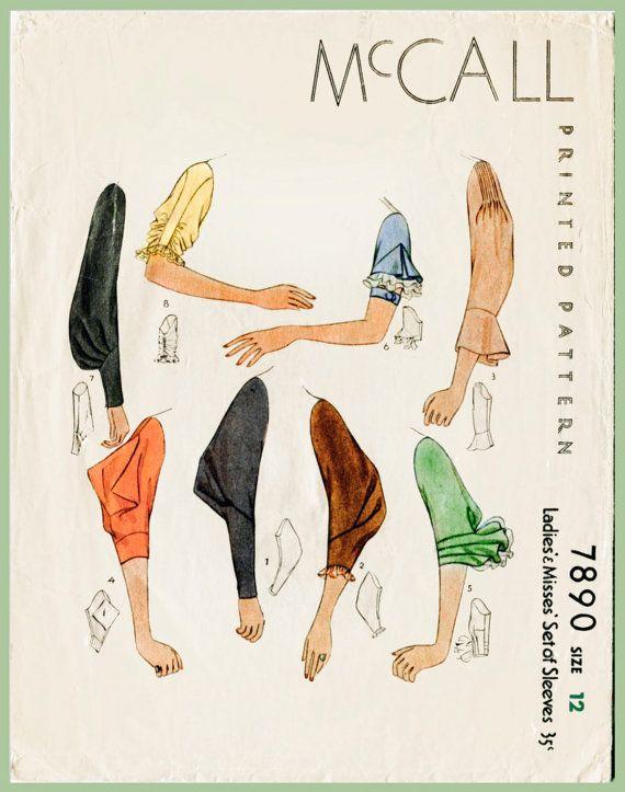 Vintage Sewing Pattern 1930s 30s sleeve set 8 styles bust 34 b34 ...