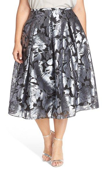 Alex Evenings Floral Print Pleated Tea Length Skirt (Plus Size) available at #Nordstrom
